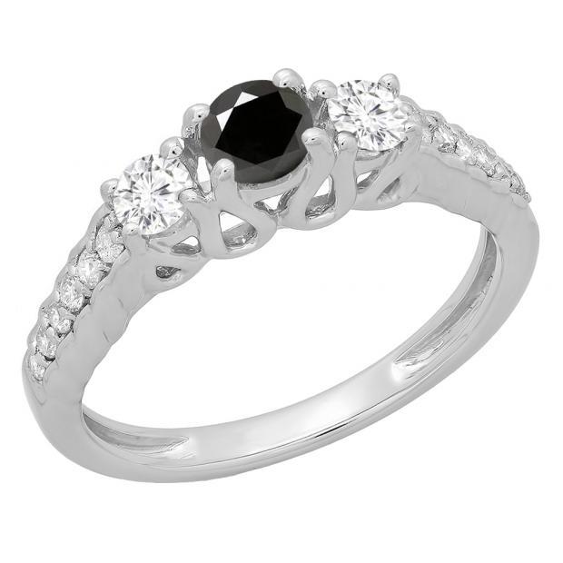 0.75 Carat (ctw) 14K White Gold Round Cut Black & White Diamond Ladies Bridal 3 Stone Engagement Ring 3/4 CT