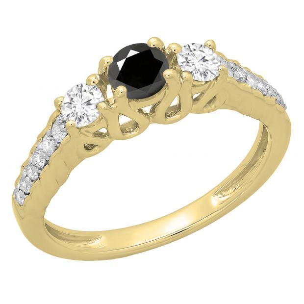 0.75 Carat (ctw) 14K Yellow Gold Round Cut Black & White Diamond Ladies Bridal 3 Stone Engagement Ring 3/4 CT