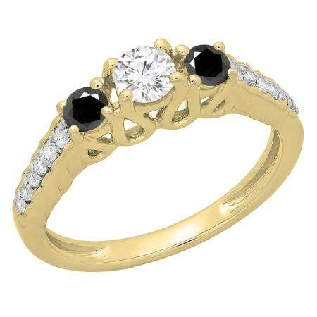 0.75 Carat (ctw) 10K Yellow Gold Round Cut Black & White Diamond Ladies Bridal 3 Stone Engagement Ring 3/4 CT