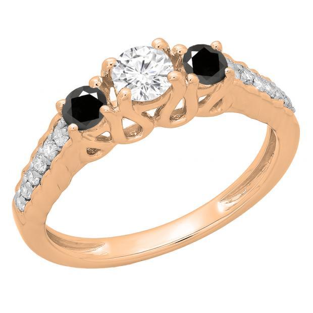0.75 Carat (ctw) 14K Rose Gold Round Cut Black & White Diamond Ladies Bridal 3 Stone Engagement Ring 3/4 CT