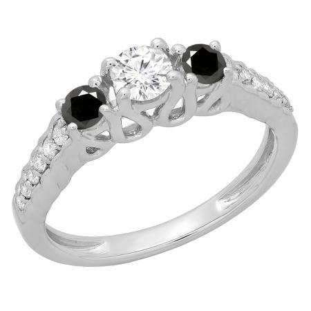 0.75 Carat (ctw) 14K White Gold Round Cut Black & White Diamond Ladies Bridal 3 Stone Engagement Ring 3/4 CT