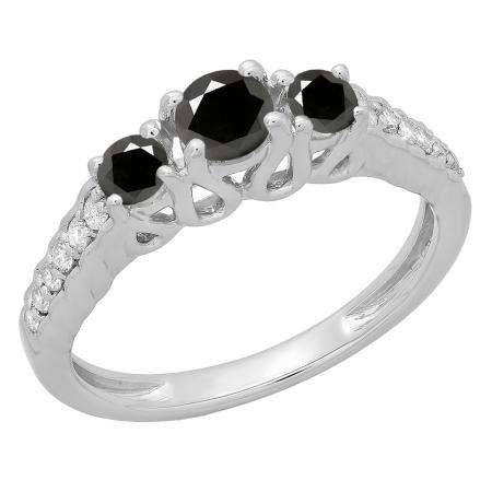 0.75 Carat (ctw) 10K White Gold Round Cut Black & White Diamond Ladies Bridal 3 Stone Engagement Ring 3/4 CT