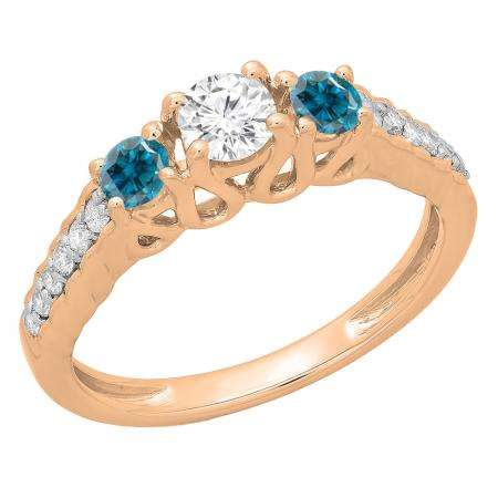 0.75 Carat (ctw) 14K Rose Gold Round Cut Blue & White Diamond Ladies Bridal 3 Stone Engagement Ring 3/4 CT