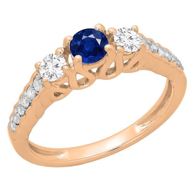 0.75 Carat (ctw) 18K Rose Gold Round Cut Blue Sapphire & White Diamond Ladies Bridal 3 Stone Engagement Ring 3/4 CT