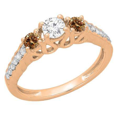 0.75 Carat (ctw) 18K Rose Gold Round Cut Champagne & White Diamond Ladies Bridal 3 Stone Engagement Ring 3/4 CT