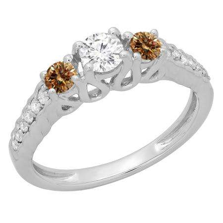 0.75 Carat (ctw) 18K White Gold Round Cut Champagne & White Diamond Ladies Bridal 3 Stone Engagement Ring 3/4 CT