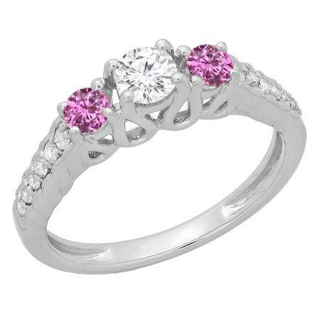 0.75 Carat (ctw) 10K White Gold Round Cut Pink Sapphire & White Diamond Ladies Bridal 3 Stone Engagement Ring 3/4 CT