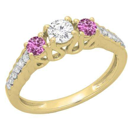0.75 Carat (ctw) 14K Yellow Gold Round Cut Pink Sapphire & White Diamond Ladies Bridal 3 Stone Engagement Ring 3/4 CT