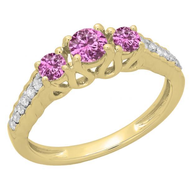 0.75 Carat (ctw) 10K Yellow Gold Round Cut Pink Sapphire & White Diamond Ladies Bridal 3 Stone Engagement Ring 3/4 CT