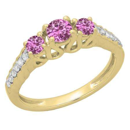 0.75 Carat (ctw) 18K Yellow Gold Round Cut Pink Sapphire & White Diamond Ladies Bridal 3 Stone Engagement Ring 3/4 CT