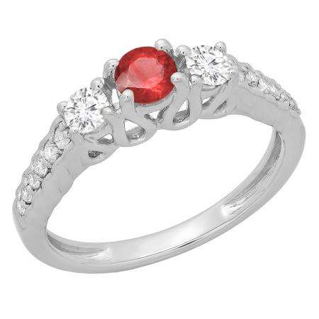 0.75 Carat (ctw) 10K White Gold Round Cut Red Ruby & White Diamond Ladies Bridal 3 Stone Engagement Ring 3/4 CT