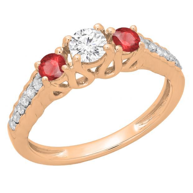 0.75 Carat (ctw) 14K Rose Gold Round Cut Red Ruby & White Diamond Ladies Bridal 3 Stone Engagement Ring 3/4 CT