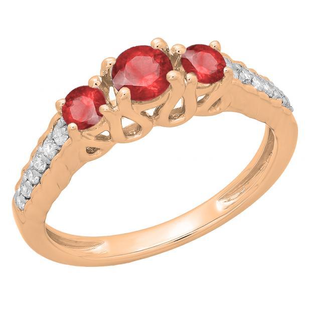 0.75 Carat (ctw) 10K Rose Gold Round Cut Red Ruby & White Diamond Ladies Bridal 3 Stone Engagement Ring 3/4 CT