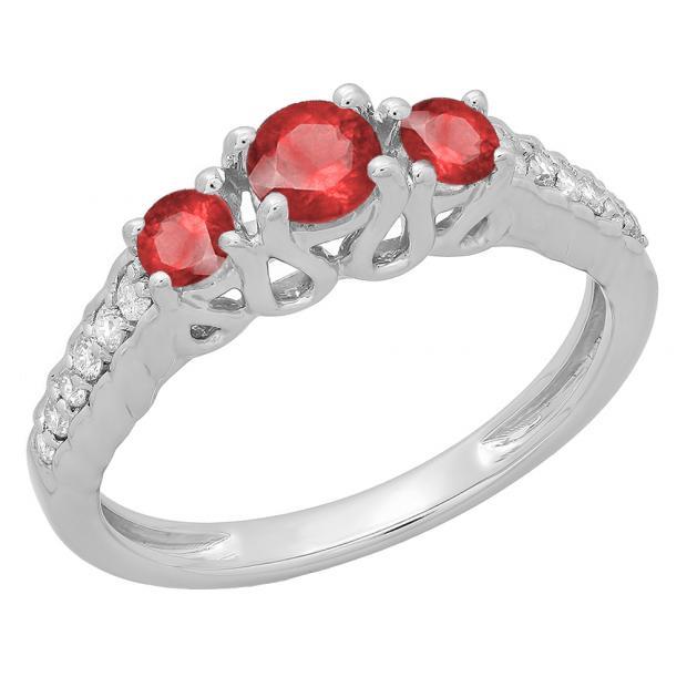 0.75 Carat (ctw) 14K White Gold Round Cut Red Ruby & White Diamond Ladies Bridal 3 Stone Engagement Ring 3/4 CT