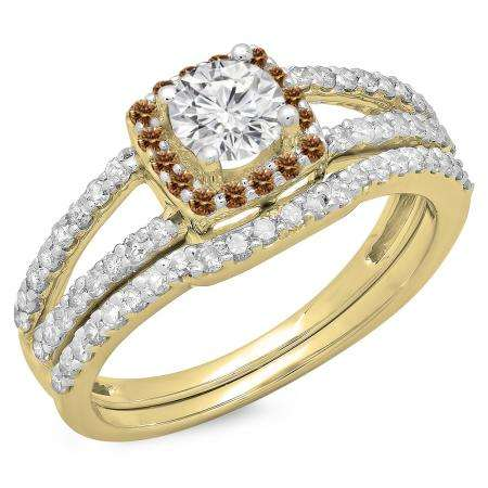 1.00 Carat (ctw) 18K Yellow Gold Round Champagne & White Diamond Ladies Split Shank Halo Bridal Engagement Ring With Matching Band Set 1 CT