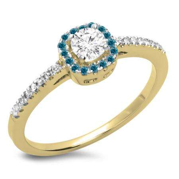 0.45 Carat (ctw) 10K Yellow Gold Round Cut Blue & White Diamond Ladies Halo Style Bridal Engagement Ring 1/2 CT