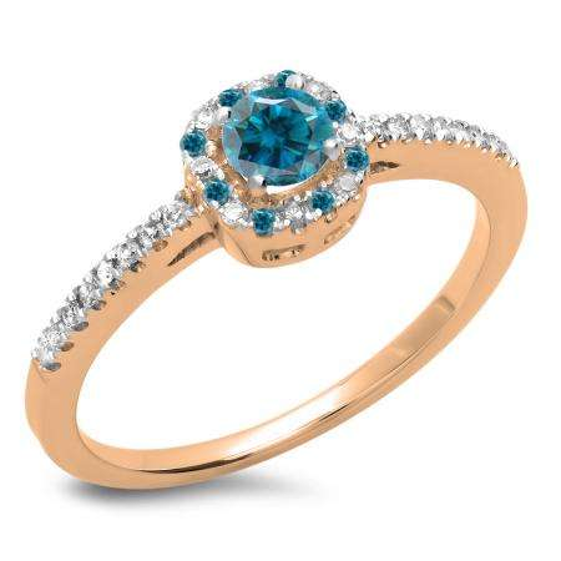 0.45 Carat (ctw) 10K Rose Gold Round Cut Blue & White Diamond Ladies Halo Style Bridal Engagement Ring 1/2 CT