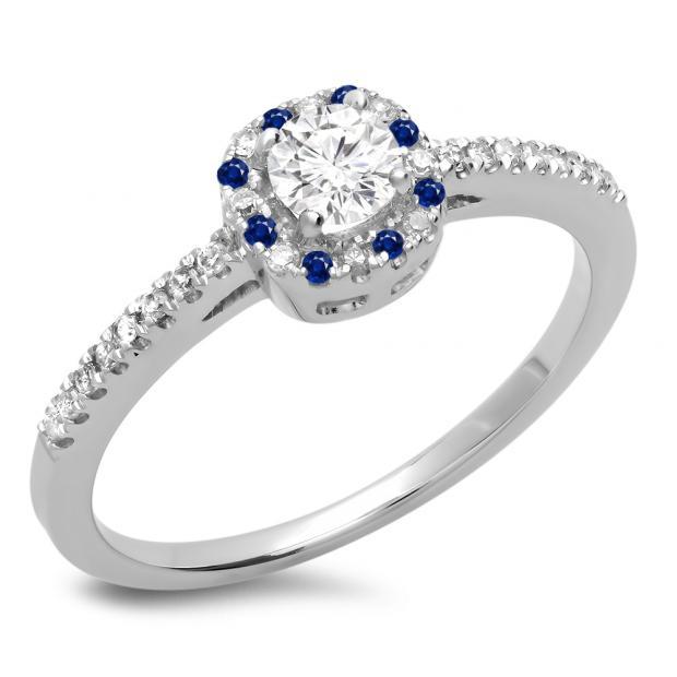 0.45 Carat (ctw) 10K White Gold Round Cut Blue Sapphire & White Diamond Ladies Halo Style Bridal Engagement Ring 1/2 CT