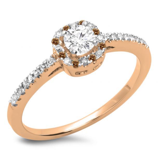 0.45 Carat (ctw) 10K Rose Gold Round Cut Champagne & White Diamond Ladies Halo Style Bridal Engagement Ring 1/2 CT