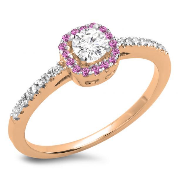0.45 Carat (ctw) 18K Rose Gold Round Cut Pink Sapphire & White Diamond Ladies Halo Style Bridal Engagement Ring 1/2 CT