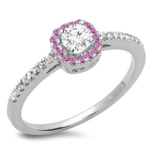 0.45 Carat (ctw) 18K White Gold Round Cut Pink Sapphire & White Diamond Ladies Halo Style Bridal Engagement Ring 1/2 CT