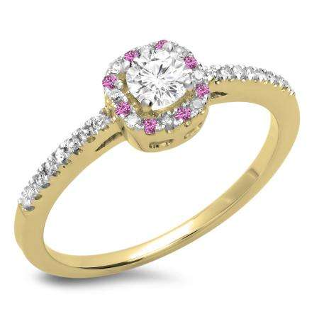 0.45 Carat (ctw) 14K Yellow Gold Round Cut Pink Sapphire & White Diamond Ladies Halo Style Bridal Engagement Ring 1/2 CT