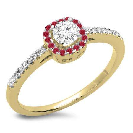 0.45 Carat (ctw) 10K Yellow Gold Round Cut Ruby & White Diamond Ladies Halo Style Bridal Engagement Ring 1/2 CT