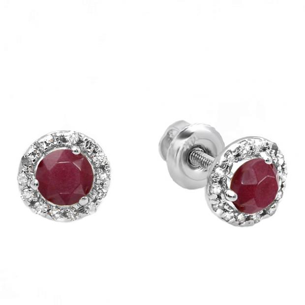 0.35 Carat (ctw) 10k White Gold Round Ruby & White Diamond Halo Stud Earrings