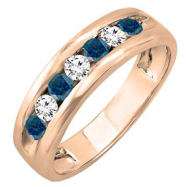0.85 Carat (ctw) 10K Rose Gold Round White & Blue Diamond Mens Anniversary Wedding Band Ring