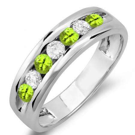 0.85 Carat (ctw) 14K White Gold Round Peridot & White Diamond Mens Anniversary Wedding Band Ring