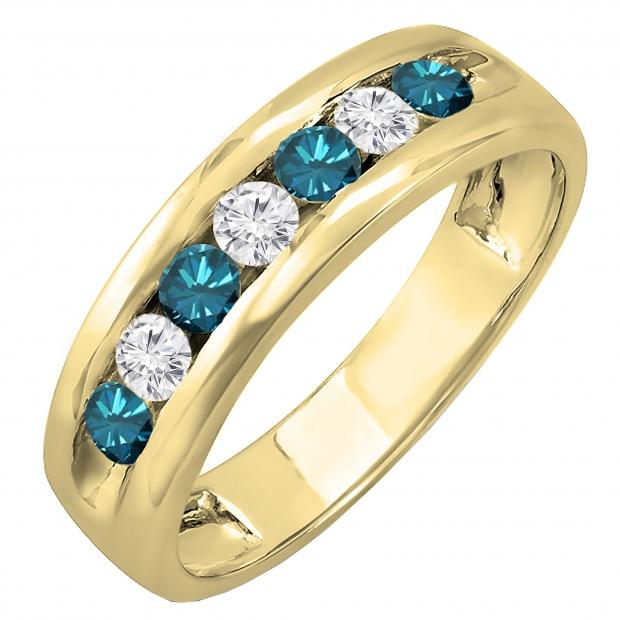 0.85 Carat (ctw) 14K Yellow Gold Round White & Blue Diamond Mens Anniversary Wedding Band Ring