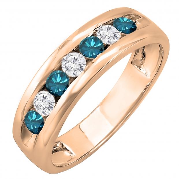 0.85 Carat (ctw) 18K Rose Gold Round White & Blue Diamond Mens Anniversary Wedding Band Ring