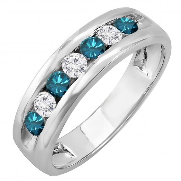 0.85 Carat (ctw) 18K White Gold Round White & Blue Diamond Mens Anniversary Wedding Band Ring