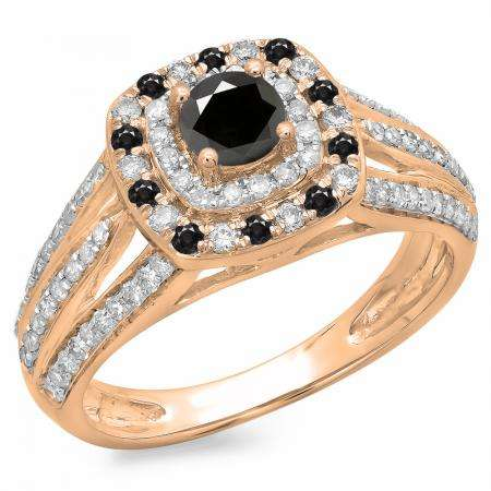 1.10 Carat (ctw) 18K Rose Gold Round Cut Black & White Diamond Ladies Split Shank Vintage Style Bridal Halo Engagement Ring 1 CT