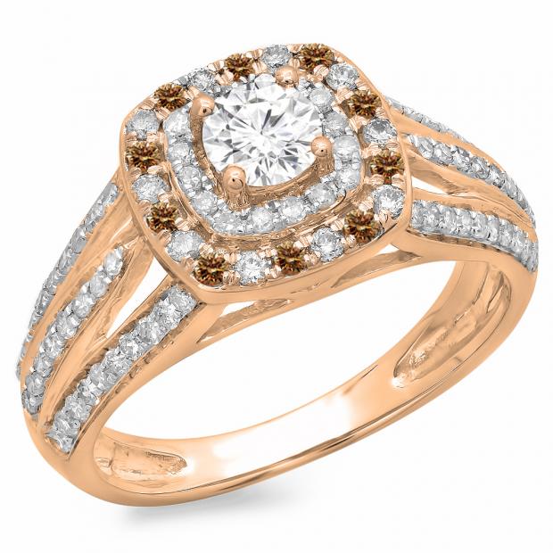 1.10 Carat (ctw) 18K Rose Gold Round Cut Champagne & White Diamond Ladies Split Shank Vintage Style Bridal Halo Engagement Ring 1 CT