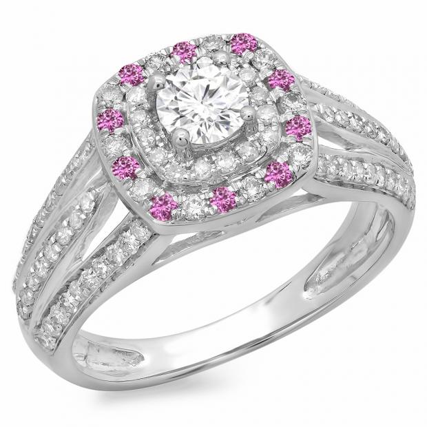 1.10 Carat (ctw) 14K White Gold Round Cut Pink Sapphire & White Diamond Ladies Split Shank Vintage Style Bridal Halo Engagement Ring 1 CT