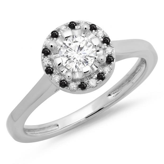 0.50 Carat (ctw) 14K White Gold Round Black & White Diamond Ladies Bridal Halo Style Engagement Ring 1/2 CT