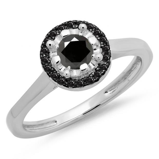 0.50 Carat (ctw) 18K White Gold Round Black Diamond Ladies Bridal Halo Style Engagement Ring 1/2 CT