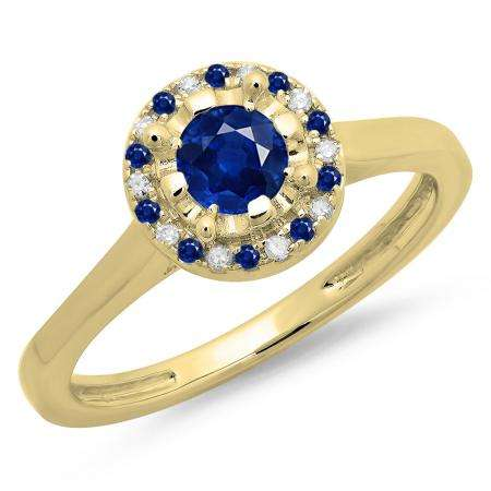 0.50 Carat (ctw) 18K Yellow Gold Round Blue Sapphire & White Diamond Ladies Bridal Halo Style Engagement Ring 1/2 CT