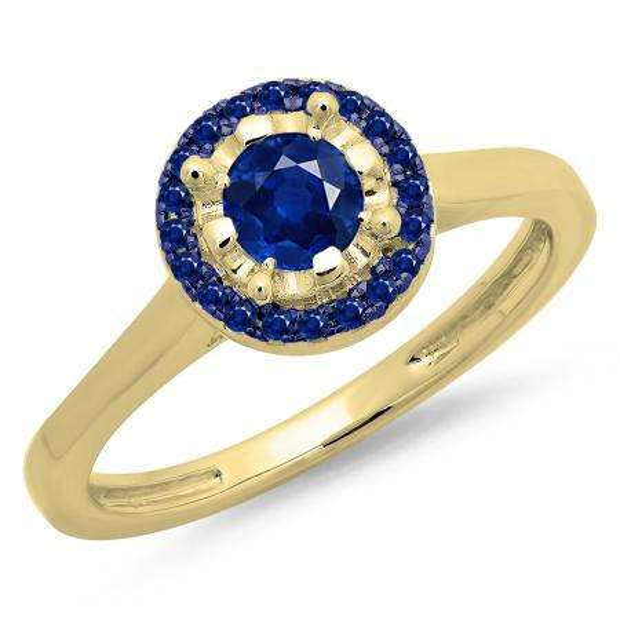 0.50 Carat (ctw) 18K Yellow Gold Round Blue Sapphire Ladies Bridal Halo Style Engagement Ring 1/2 CT