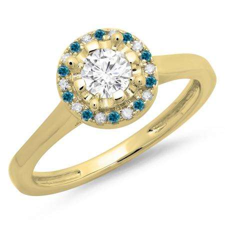 0.50 Carat (ctw) 14K Yellow Gold Round Blue & White Diamond Ladies Bridal Halo Style Engagement Ring 1/2 CT