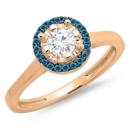 0.50 Carat (ctw) 14K Rose Gold Round Blue & White Diamond Ladies Bridal Halo Style Engagement Ring 1/2 CT