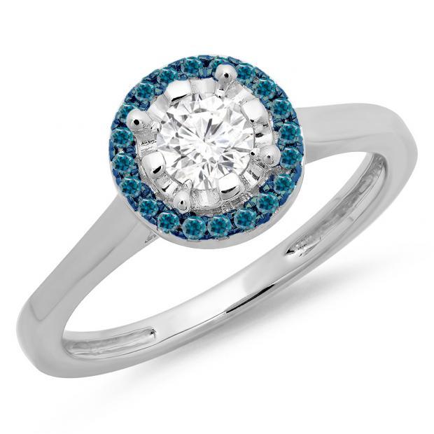 0.50 Carat (ctw) 18K White Gold Round Blue & White Diamond Ladies Bridal Halo Style Engagement Ring 1/2 CT