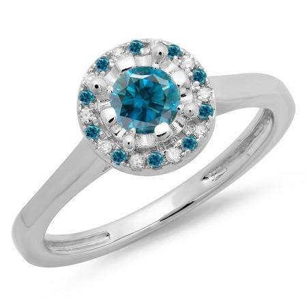 0.50 Carat (ctw) 14K White Gold Round Blue & White Diamond Ladies Bridal Halo Style Engagement Ring 1/2 CT