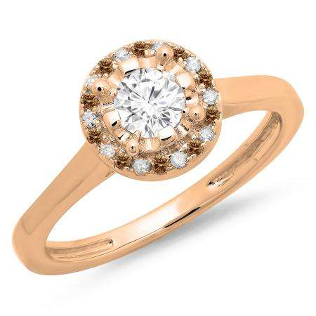 0.50 Carat (ctw) 18K Rose Gold Round Champagne & White Diamond Ladies Bridal Halo Style Engagement Ring 1/2 CT