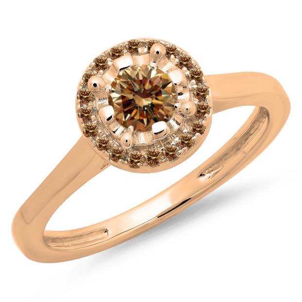 0.50 Carat (ctw) 14K Rose Gold Round Champagne Diamond Ladies Bridal Halo Style Engagement Ring 1/2 CT
