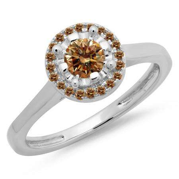 0.50 Carat (ctw) 18K White Gold Round Champagne Diamond Ladies Bridal Halo Style Engagement Ring 1/2 CT