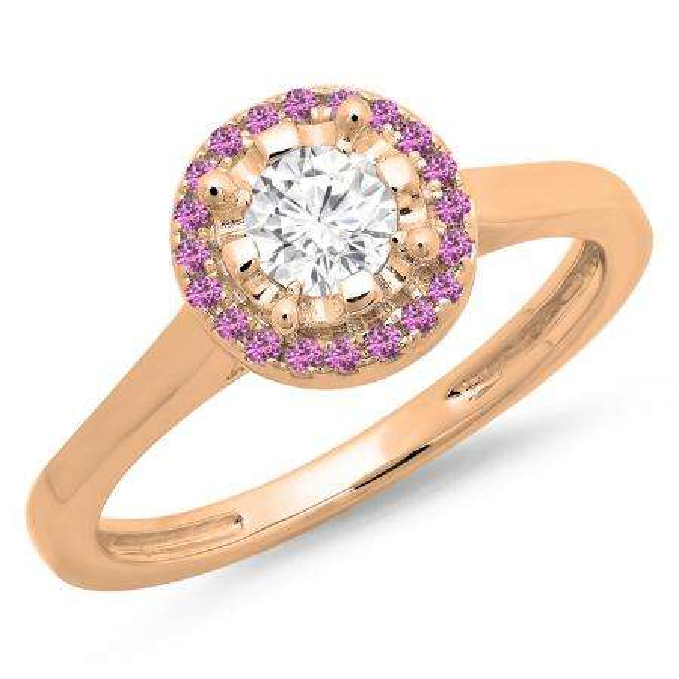 0.50 Carat (ctw) 18K Rose Gold Round Pink Sapphire & White Diamond Ladies Bridal Halo Style Engagement Ring 1/2 CT