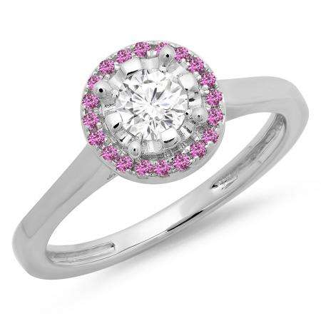 0.50 Carat (ctw) 18K White Gold Round Pink Sapphire & White Diamond Ladies Bridal Halo Style Engagement Ring 1/2 CT