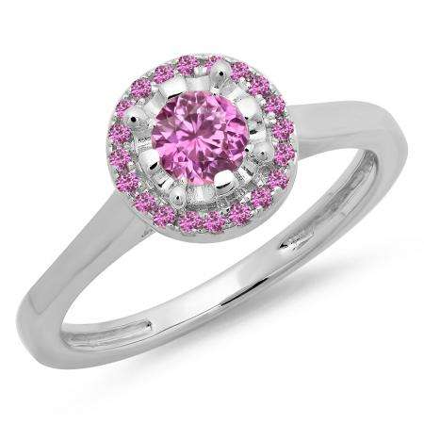 0.50 Carat (ctw) 14K White Gold Round Pink Sapphire Ladies Bridal Halo Style Engagement Ring 1/2 CT